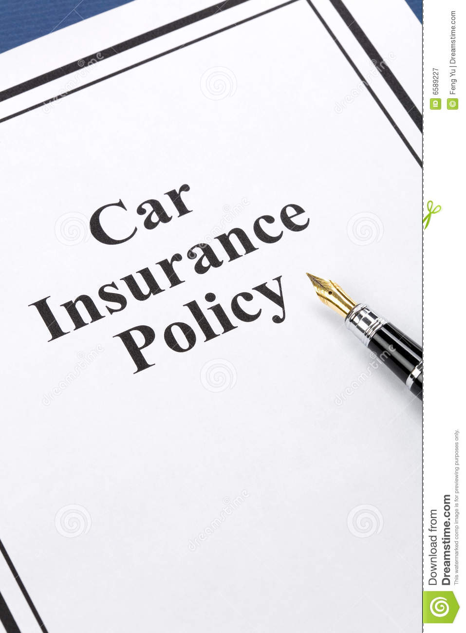 Car Insurance Policy Stock Image Image Of Paper Protection 6589227