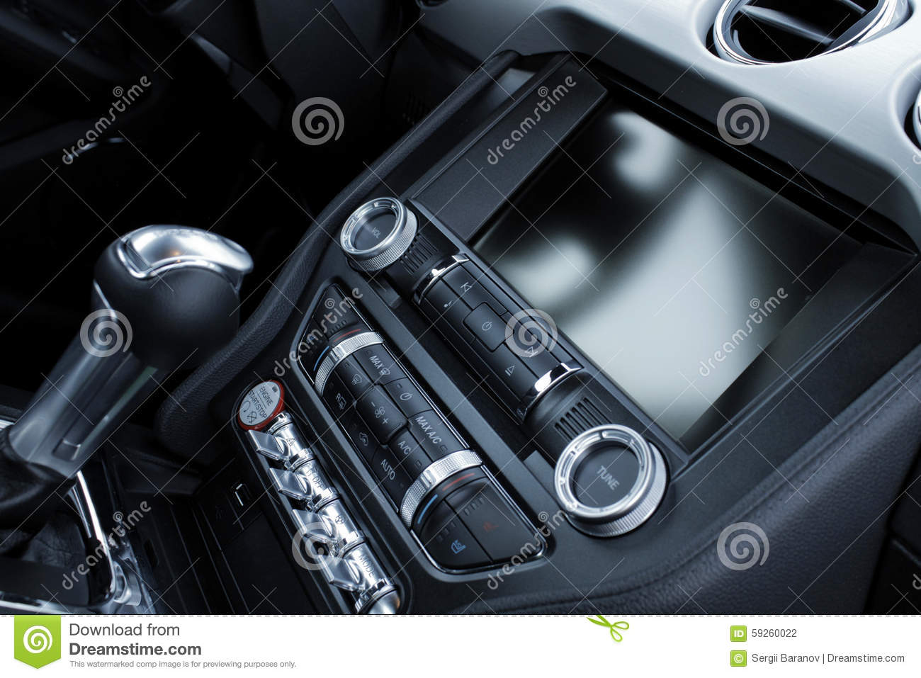 car interior dashboard and gear shift knob detailed stock photo image 59260022. Black Bedroom Furniture Sets. Home Design Ideas