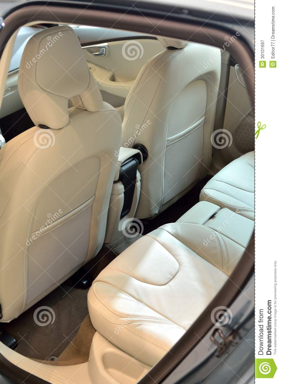 white leather seats inside car royalty free stock photography image 30101697. Black Bedroom Furniture Sets. Home Design Ideas