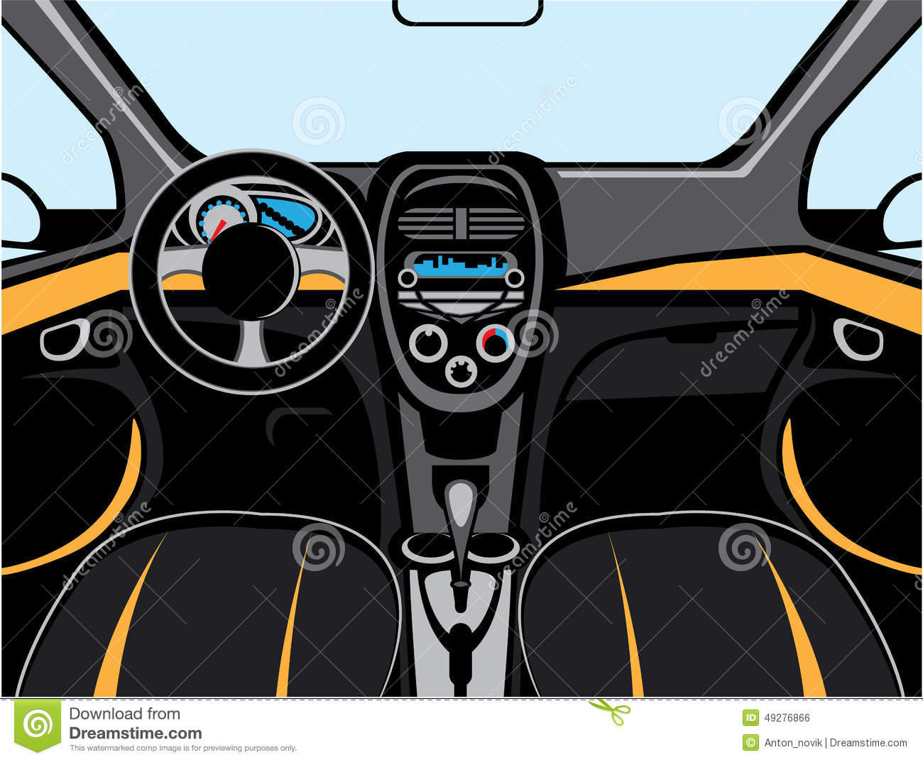 Car Interior Vector Illustration Clip Art Eps on 5 Panel Panoramic Mirror