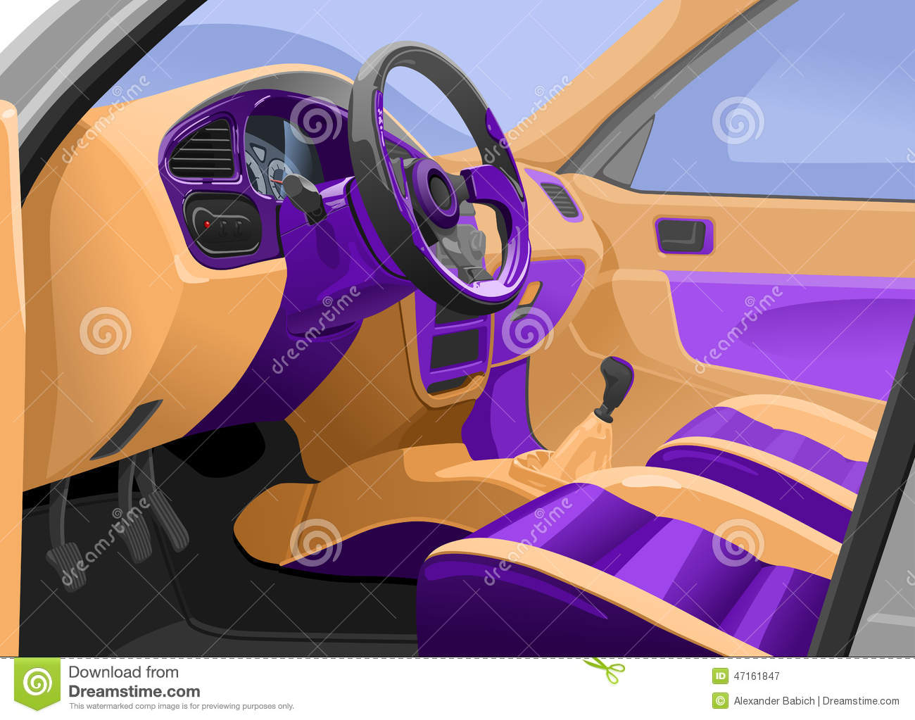 car interior stock vector image of drive inside leather 47161847. Black Bedroom Furniture Sets. Home Design Ideas