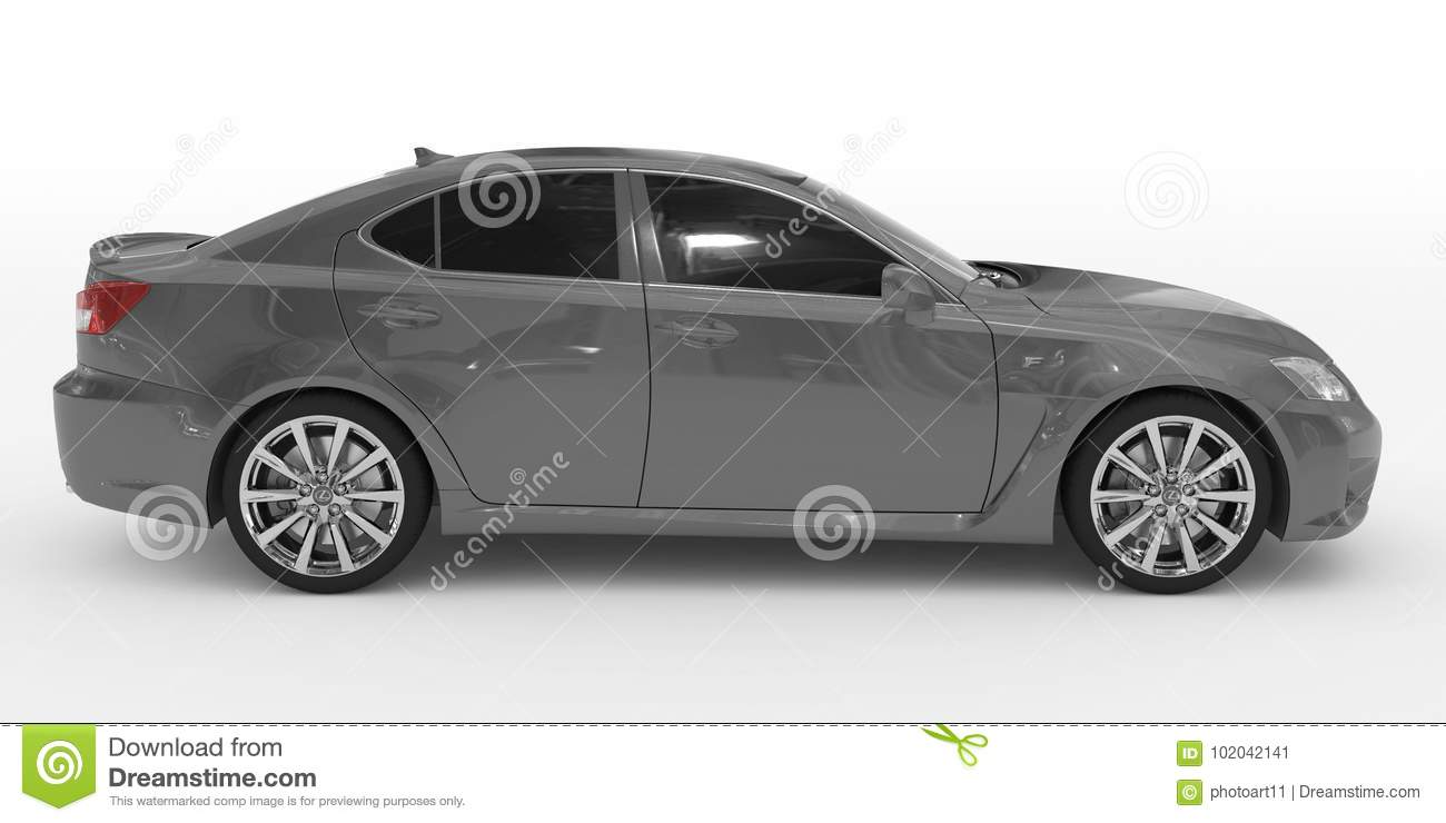 Car isolated on white - gray paint, tinted glass - right side vi