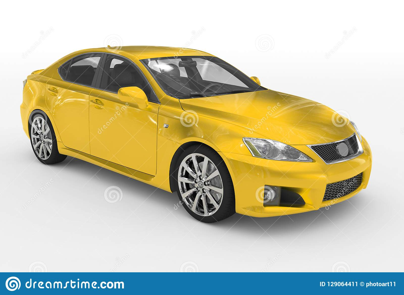 Car Isolated On White - Yellow Paint, Transparent Glass