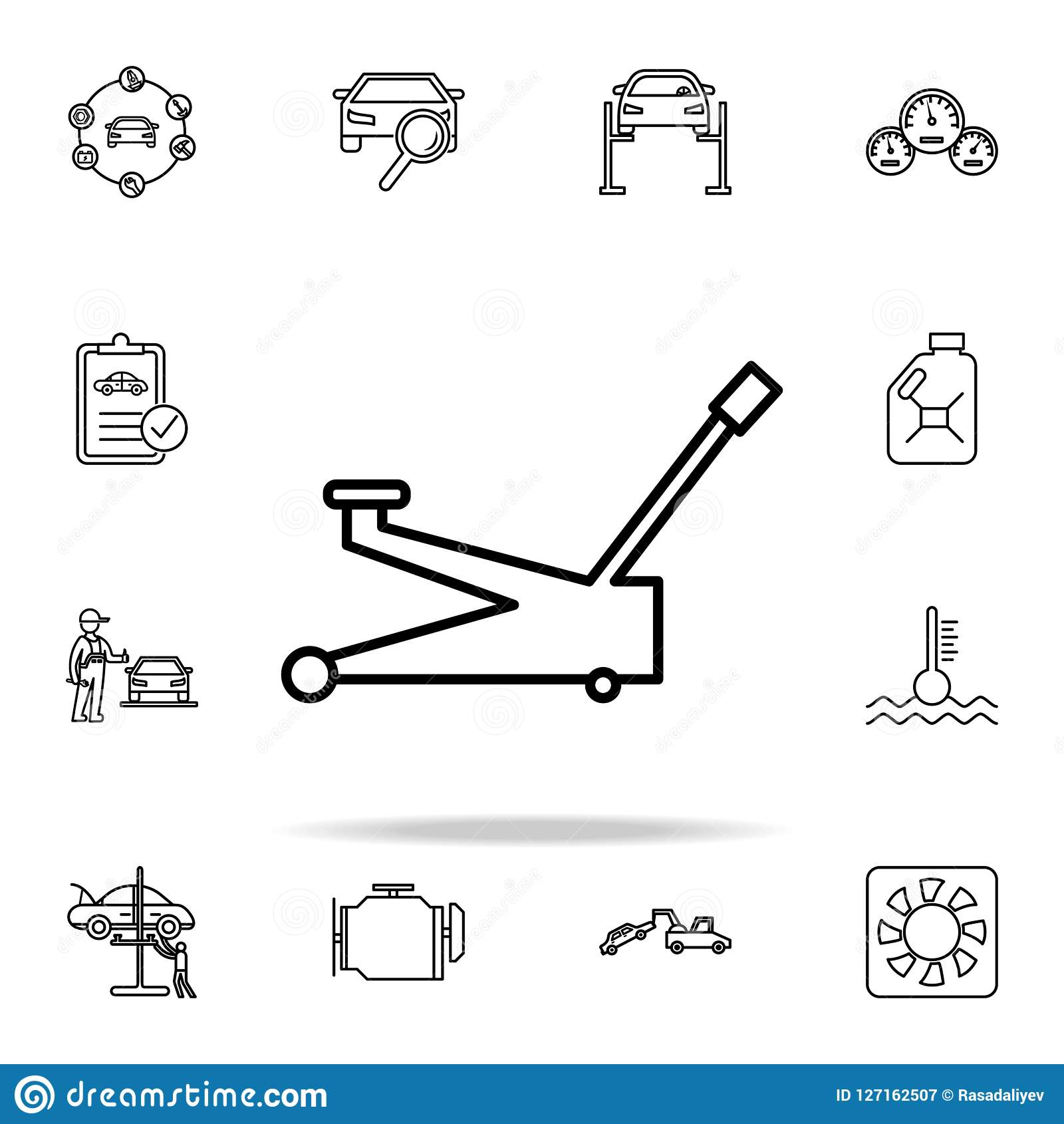Car Jack Icon Cars Service And Repair Parts Icons Universal Set For