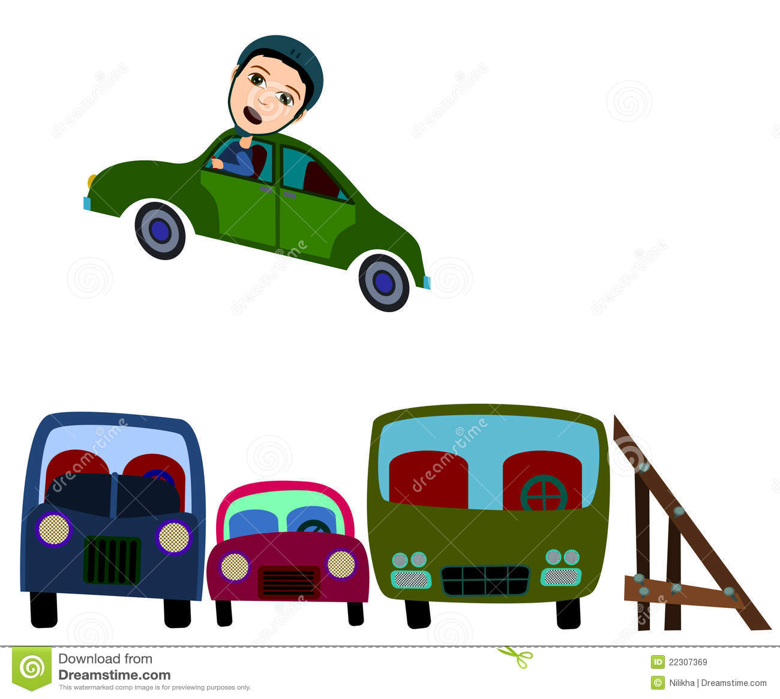 Car Jump Stock Illustration. Image Of Adventure, Brave