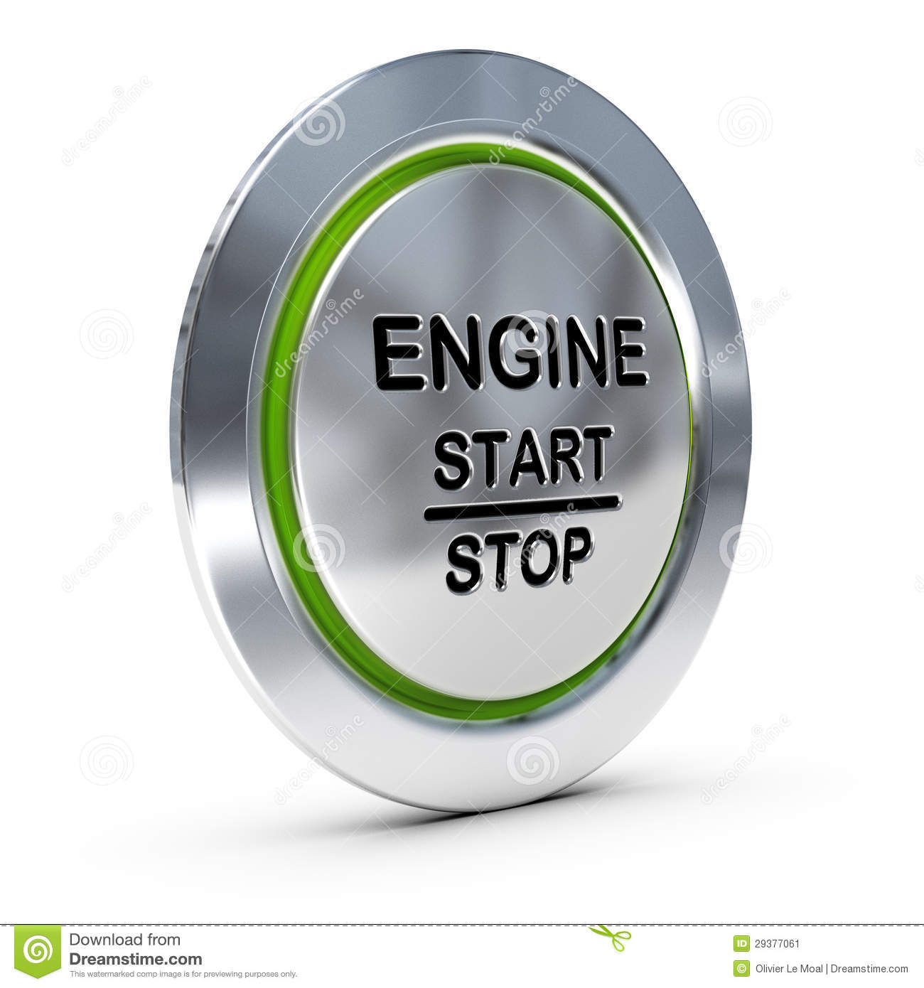 Green Start Web Page Site Map: Car Keyless Ignition Button Stock Image