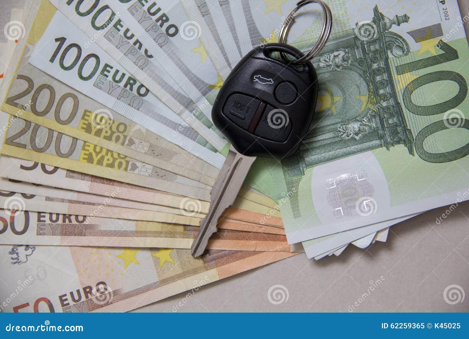 Car Keys On Euro Banknotes Flat Lay Stock Image Image Of