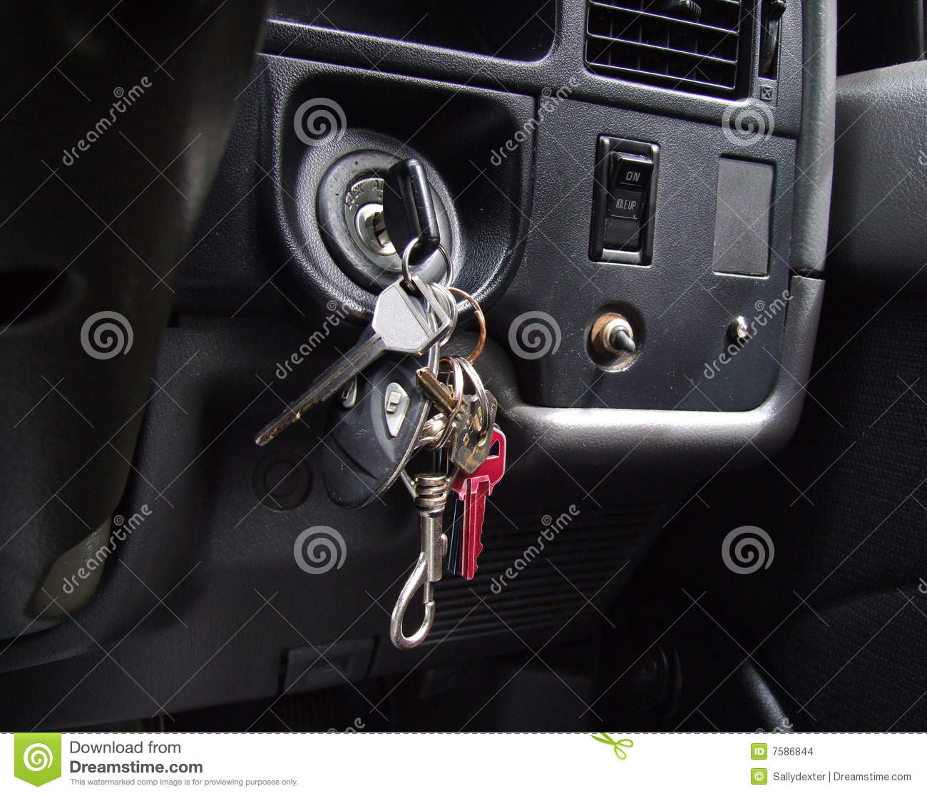 Drivers Awake To Find Cars Keyed In Penwortham: Car Keys In Ignition Stock Images