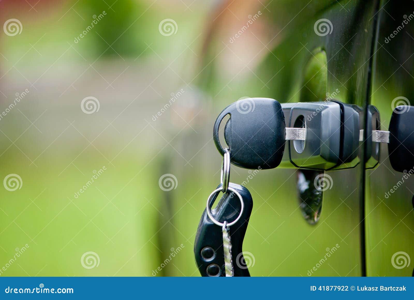 Car keys in a lock