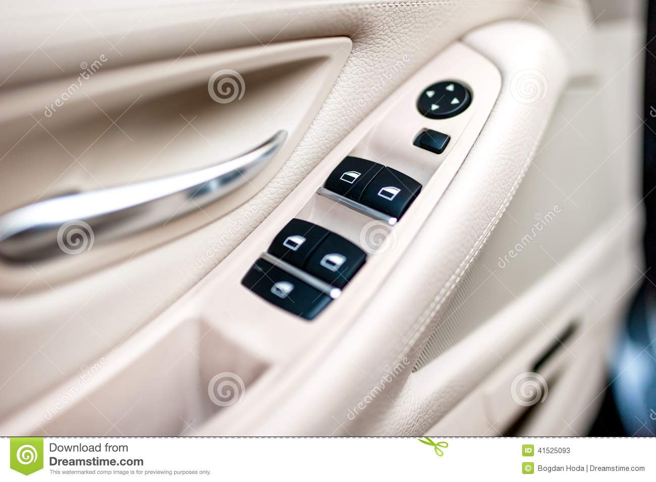 Car Leather Interior Details Of Door Handle With Windows Control ...