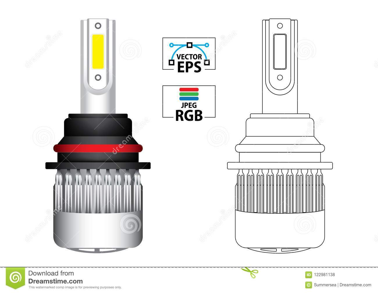 Car LED Replacement Headlight Bulb Vector Illustration In Colour And Black  Outline