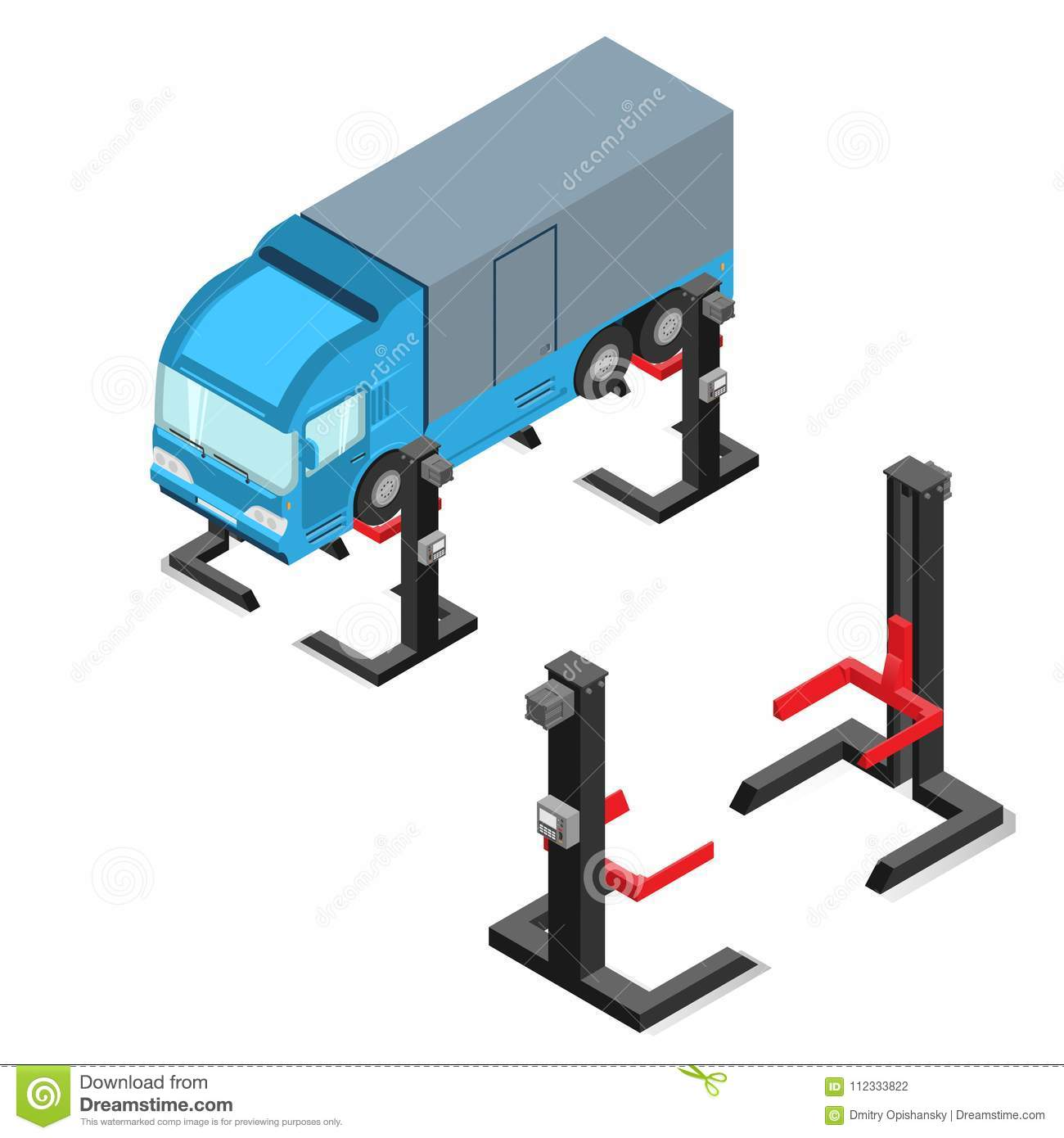 Car Lift, Device For Raising The Car In The Workshop Stock