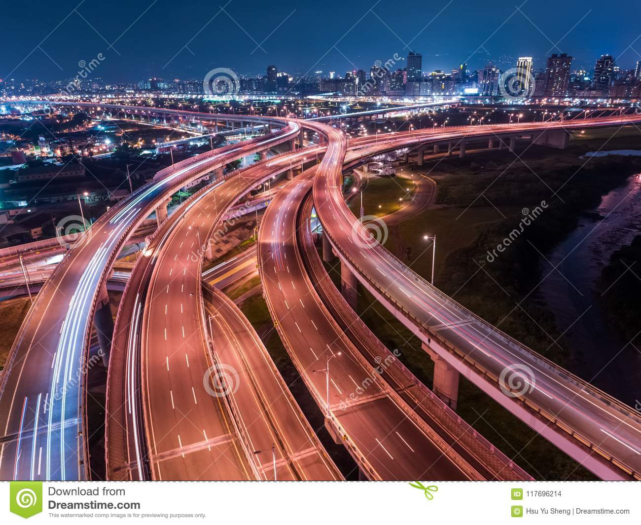 Car Light Trails Of Chongcui Bridge Long Exposure Of Aerial Photography Use The Drone At Night In New Taipei Taiwan Stock Photo Image Of Angle City 117696214