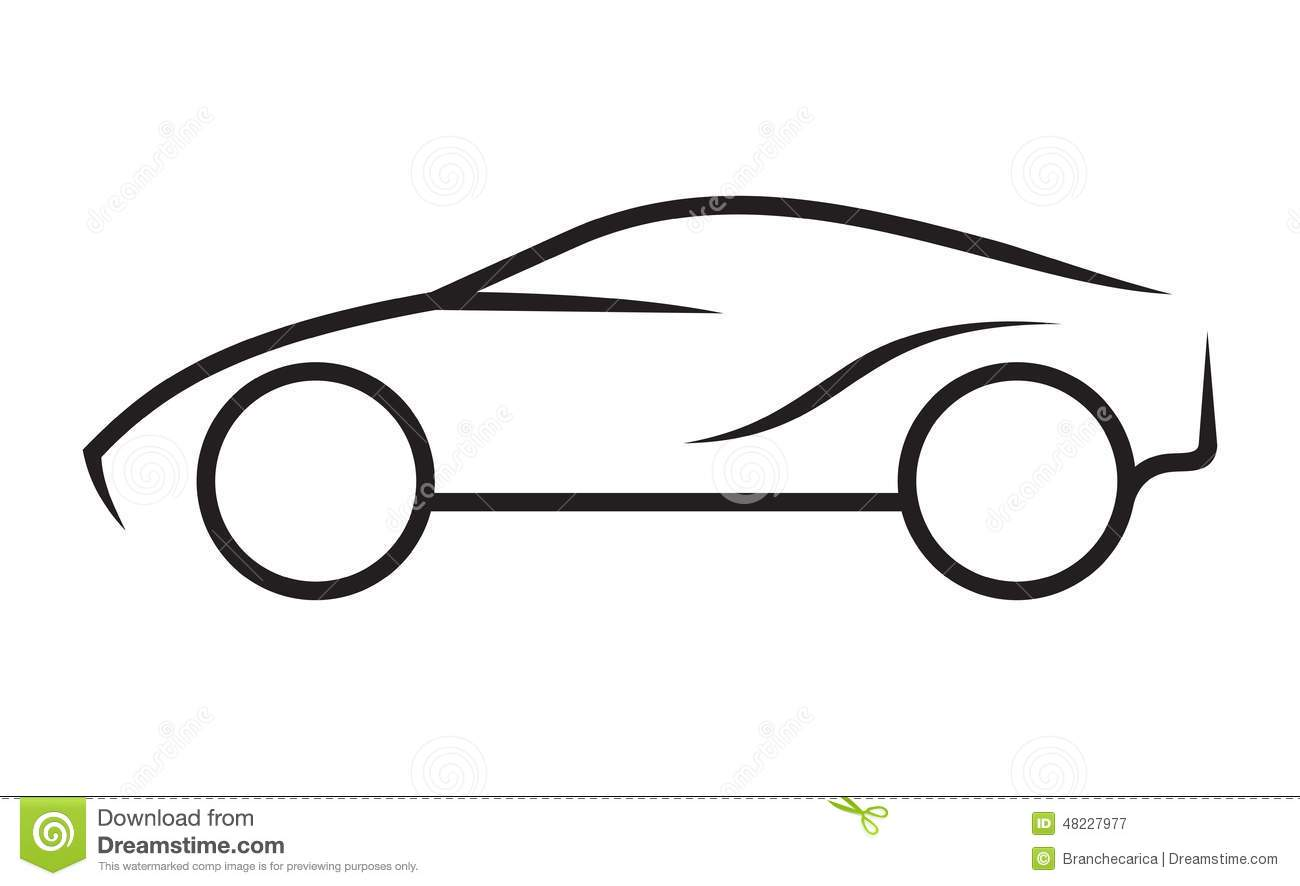 Drawing Vector Lines : Car line art stock vector image