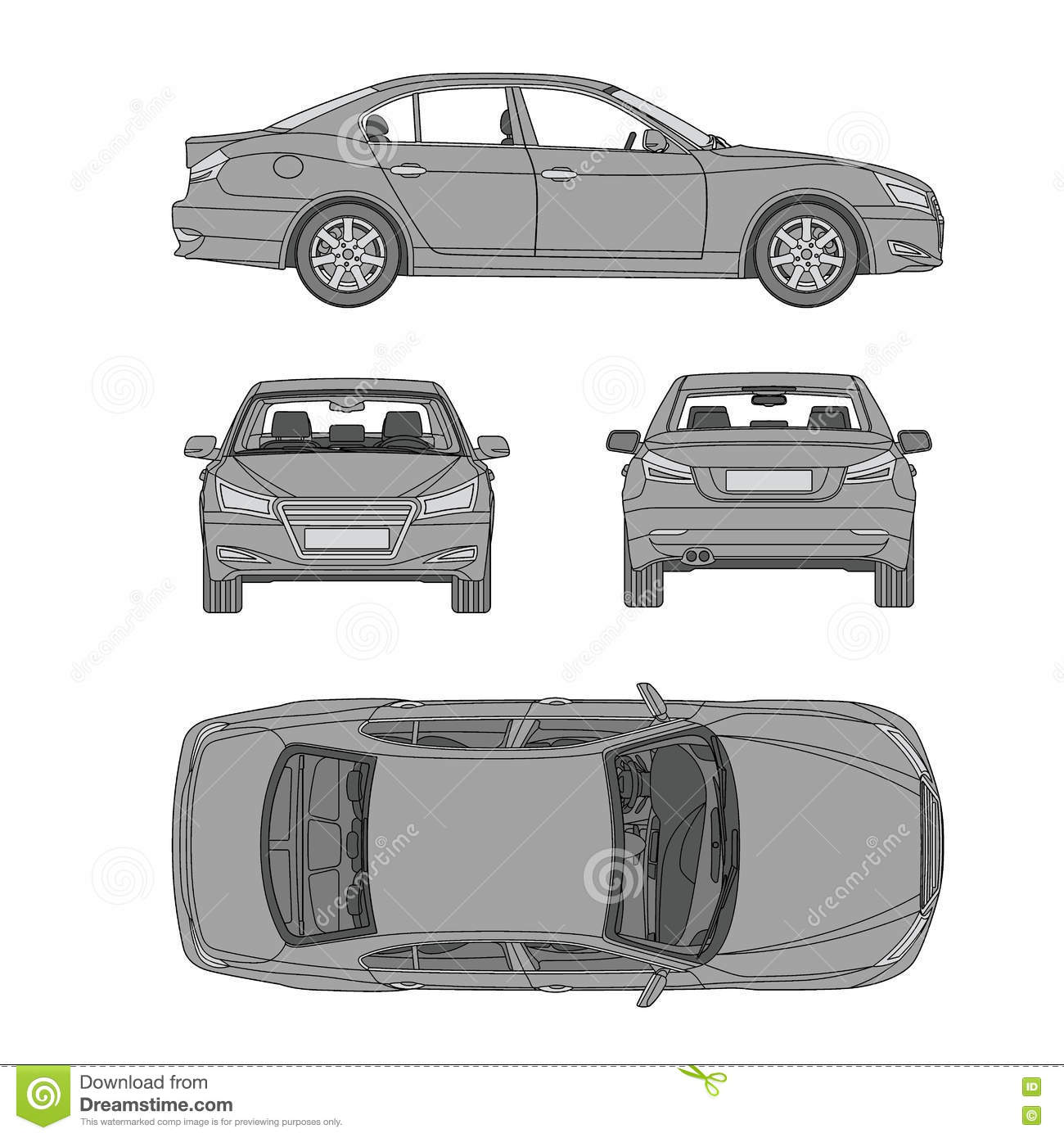 Car Line Draw Four All View Top Side Back Insurance, Rent Damage ...