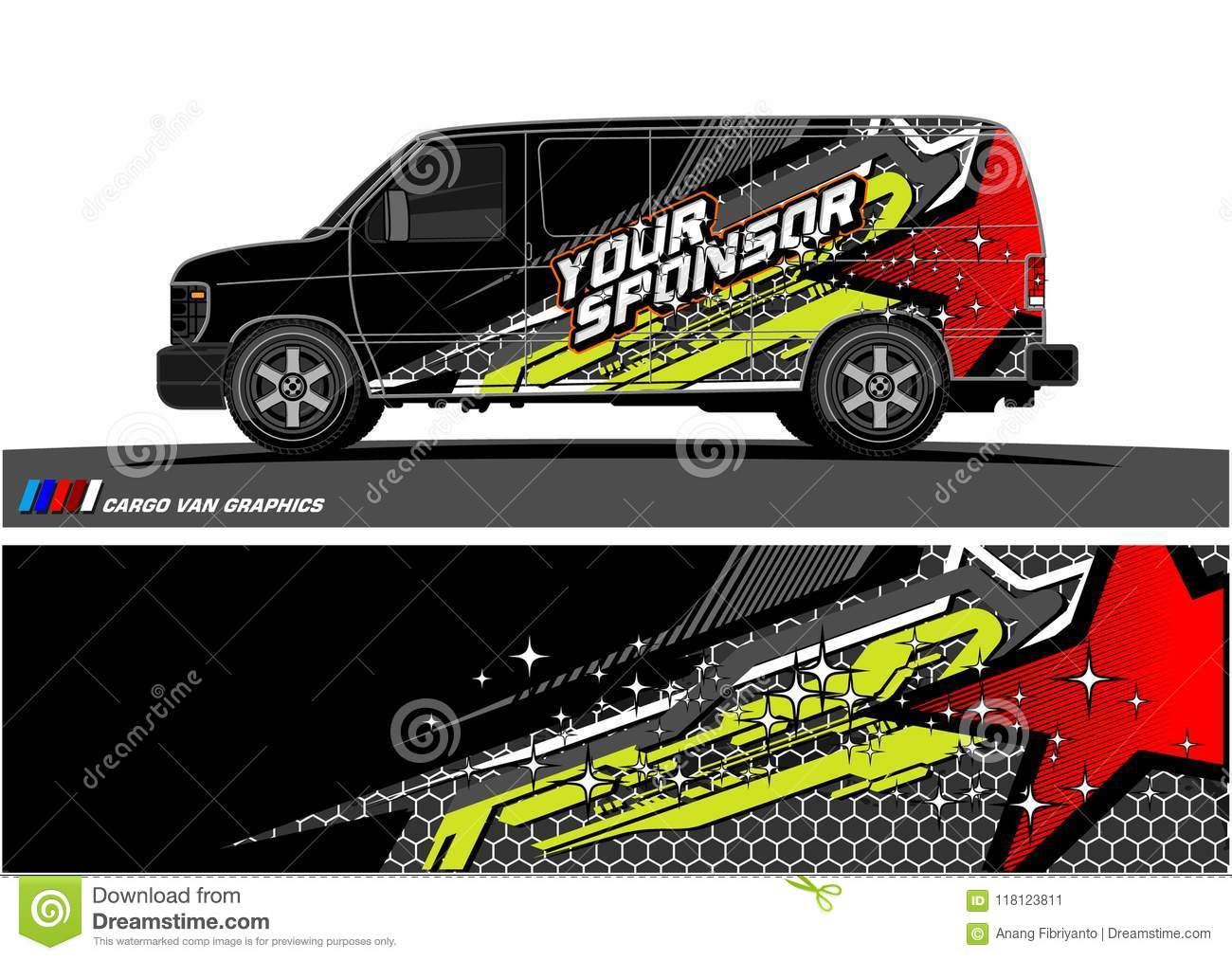 Car livery graphic vector abstract racing shape design for vehicle vinyl wrap background