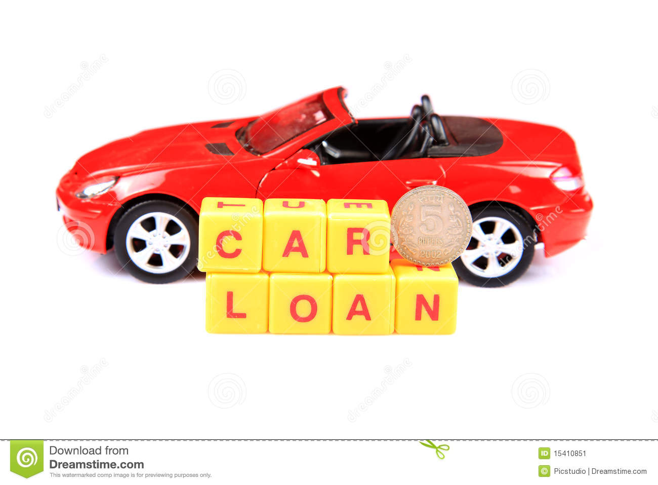 Concept image of car loan with red background.