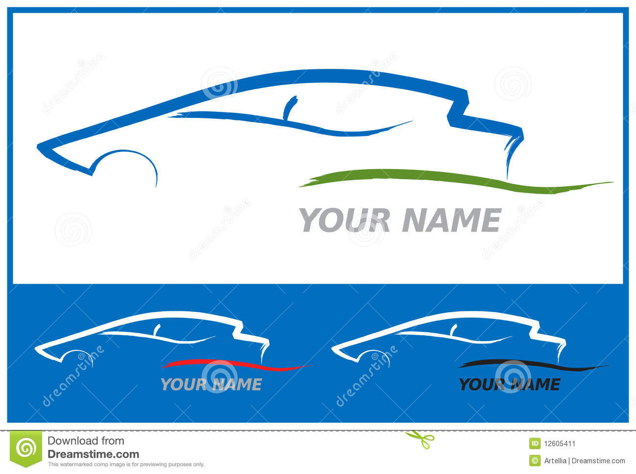 Car Logo In Blue And Green Vector Illustration Stock Image - Image ...