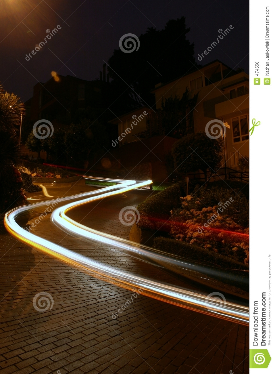 Download Car on Lombard Street stock photo. Image of darkness, district - 474556