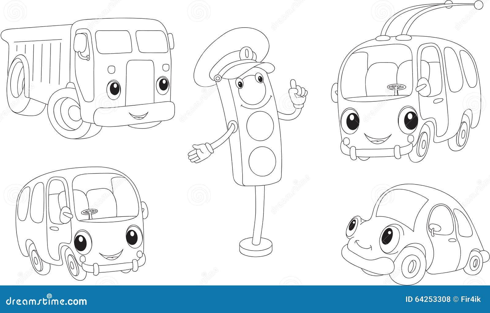 set of cartoon bus  car  lorry  trolleybus and traffic
