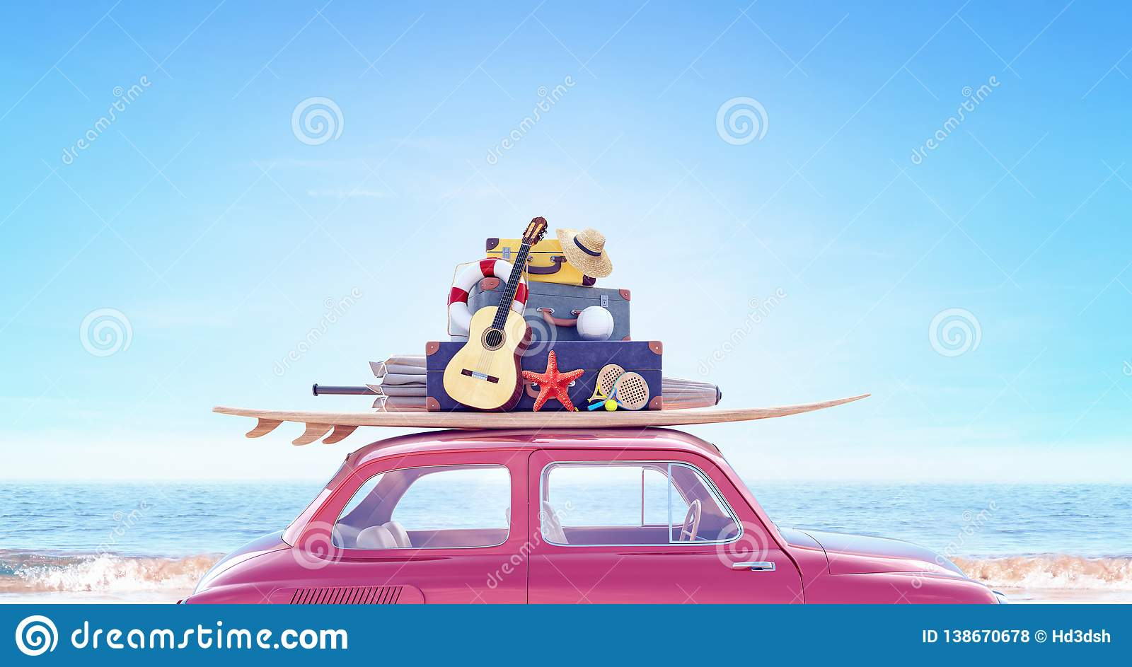 Car with luggage ready for summer travel holidays