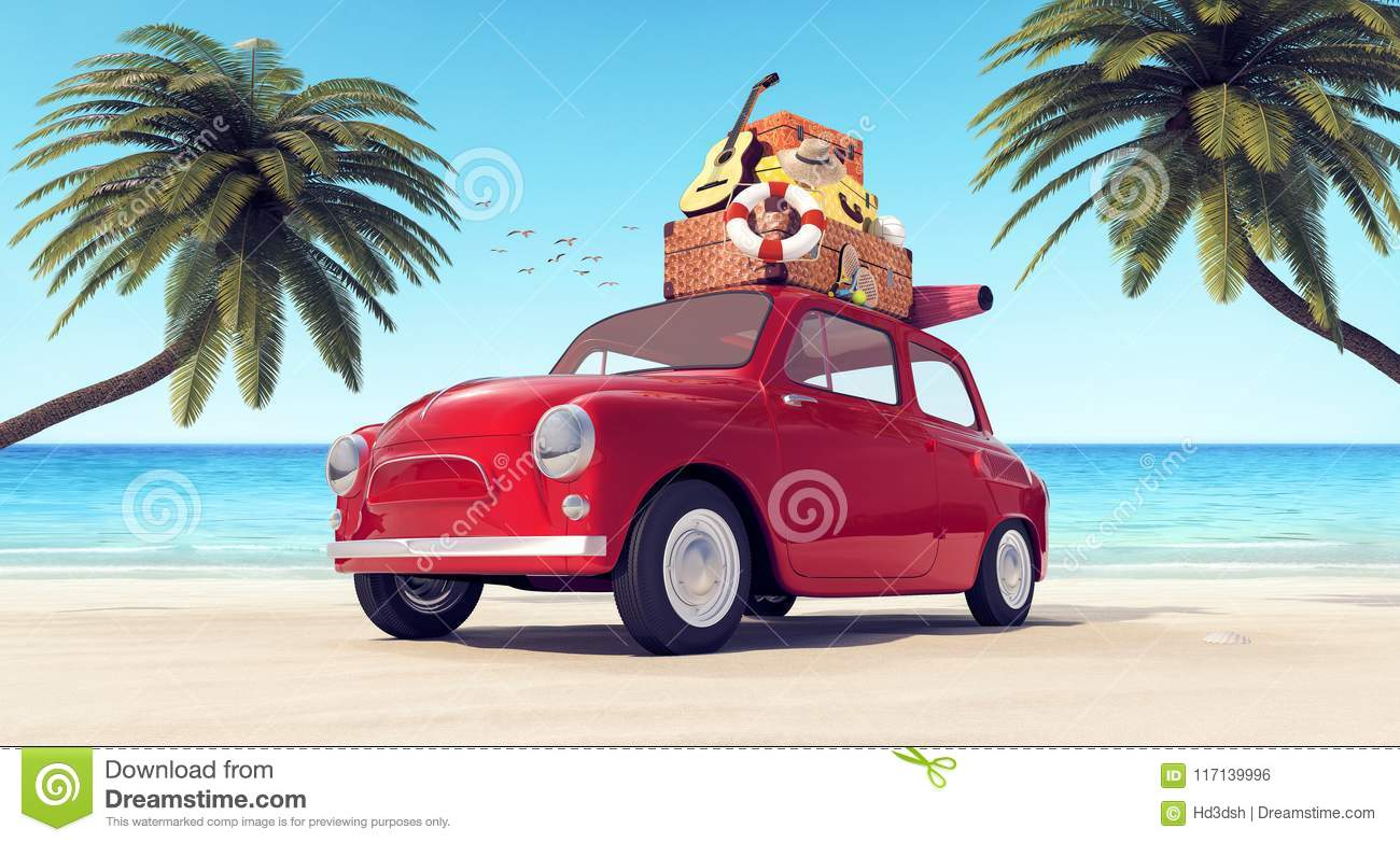 car with luggage on the roof on the beach ready for summer vacation stock illustration. Black Bedroom Furniture Sets. Home Design Ideas