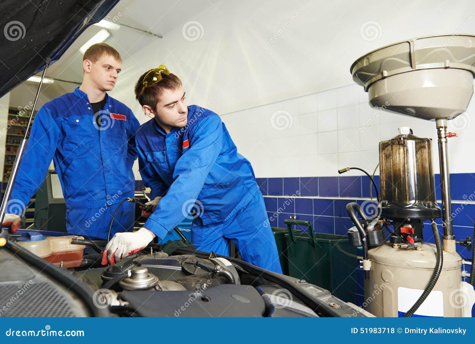 Car maintenance oil and filter replacing stock photo Motor vehicle repair