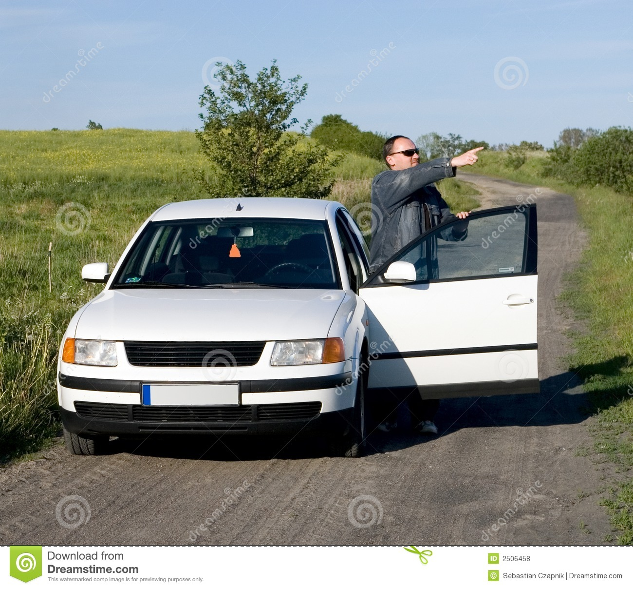 Car And Man On Country Road Royalty Free Stock Photos