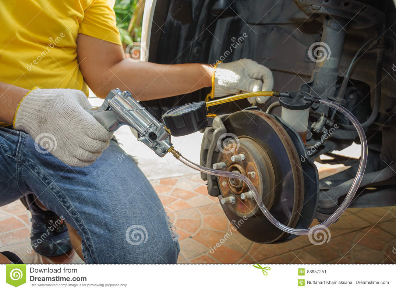 car mechanic bleed air out of brake system stock image image of failure disassembly 88957251. Black Bedroom Furniture Sets. Home Design Ideas