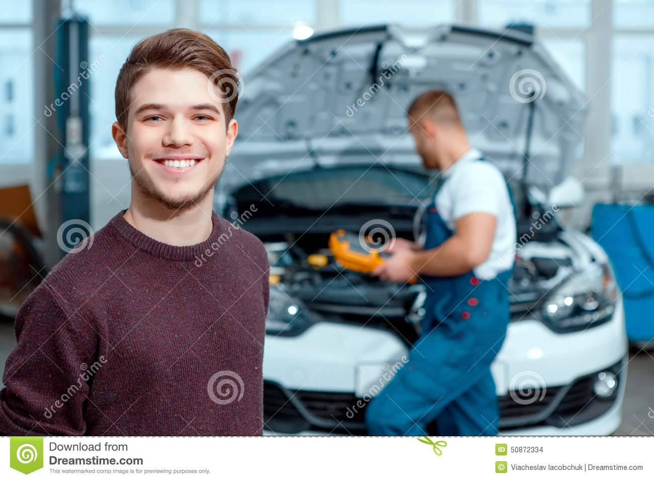car mechanic at the service station stock photo image of hood mechanic 50872334. Black Bedroom Furniture Sets. Home Design Ideas
