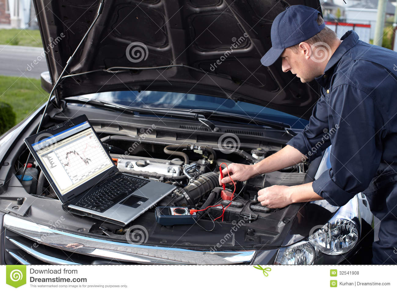 Car mechanic working in auto repair service royalty free Auto motor repair