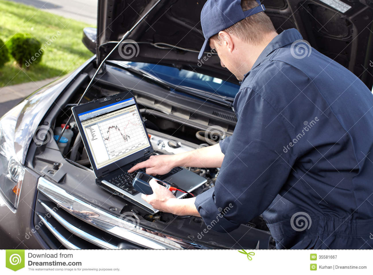 Car Mechanic Working In Auto Repair Service Royalty Free
