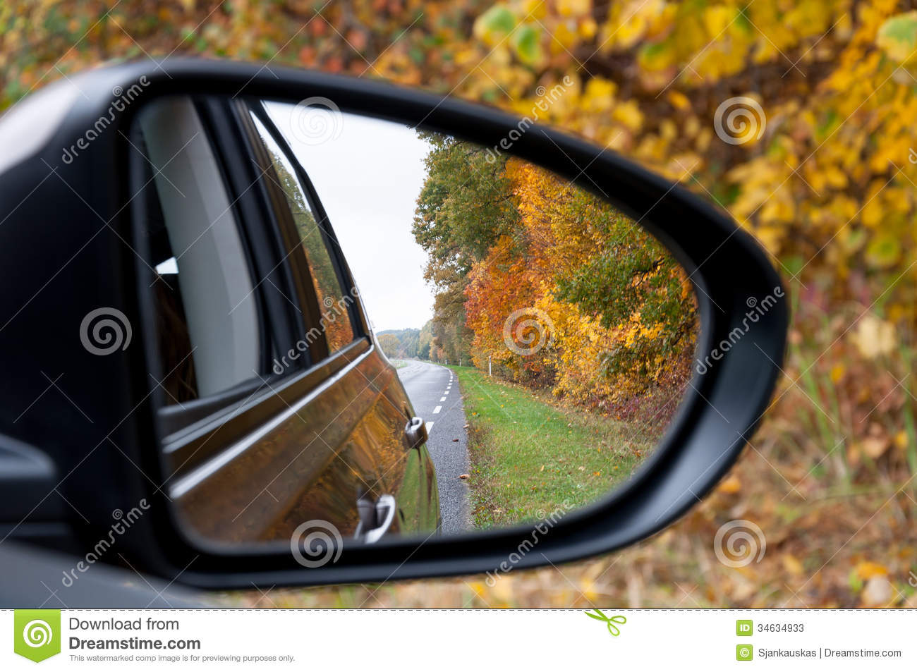 Car Mirror Autumn Road Reflection Stock Image - Image of