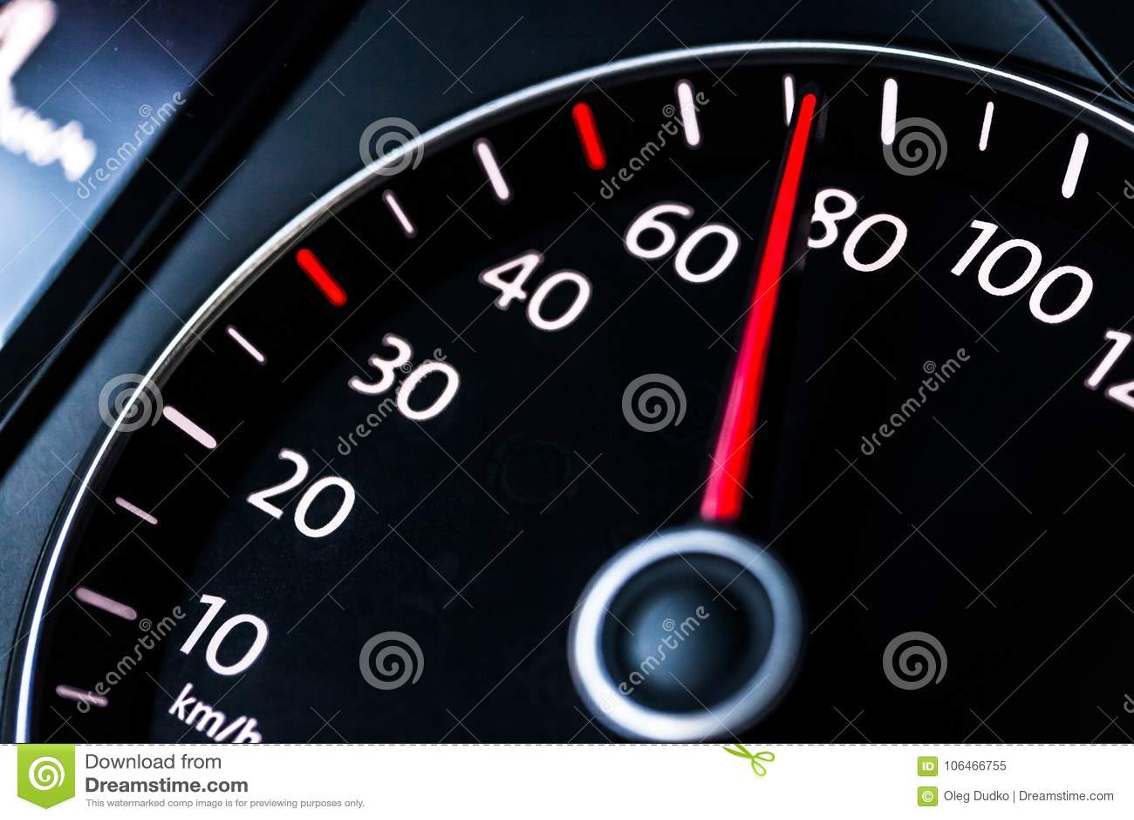 Modern car speedometer. Close up shot of the