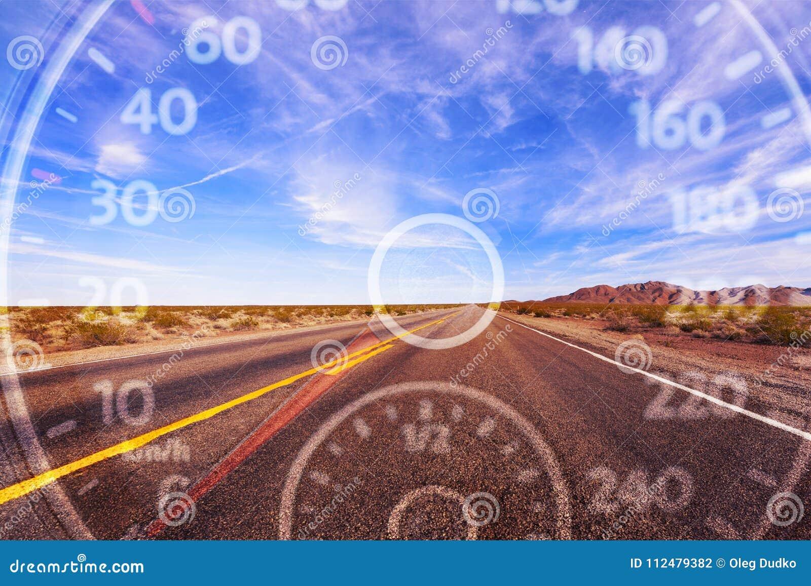 Modern car speedometer on road background