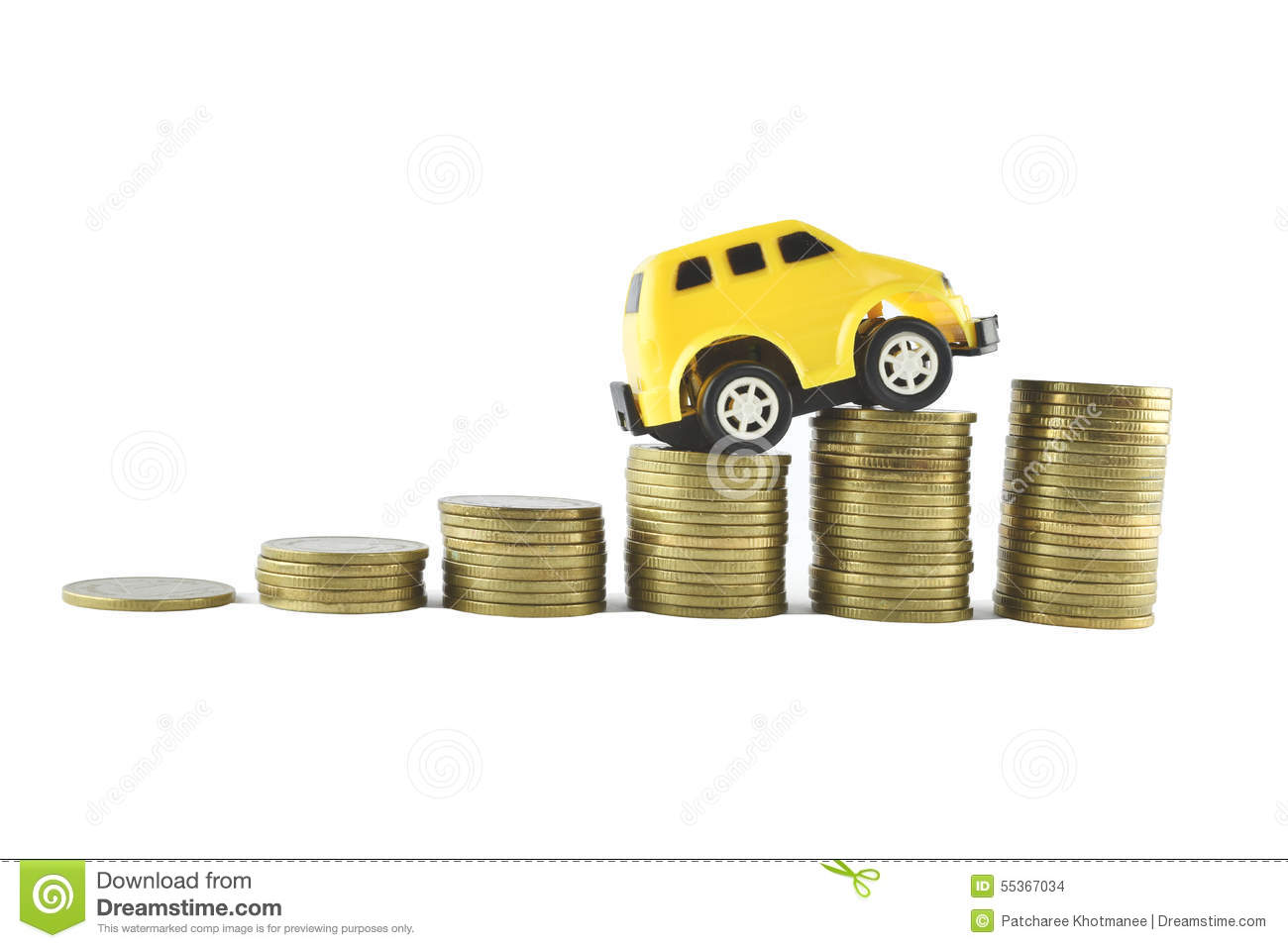 Car And Money Ideas For Saving On White Background Stock Photo ...