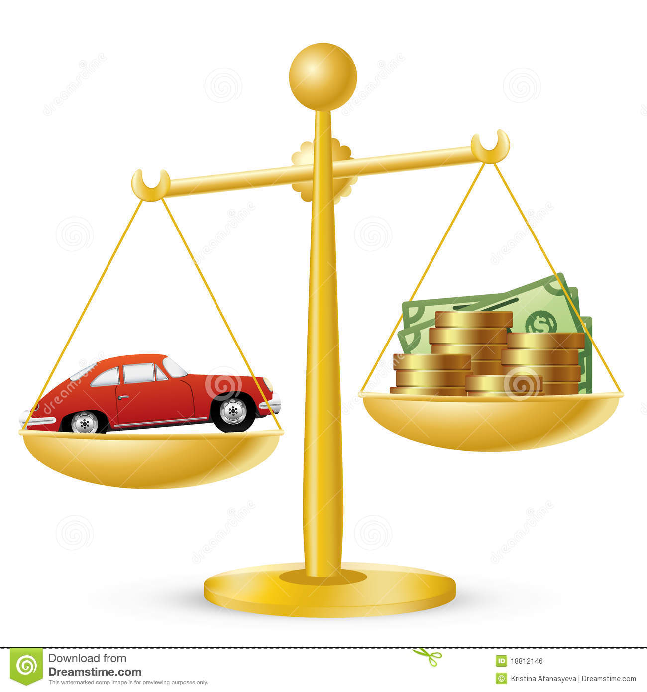 car and money on scales royalty free stock image   image