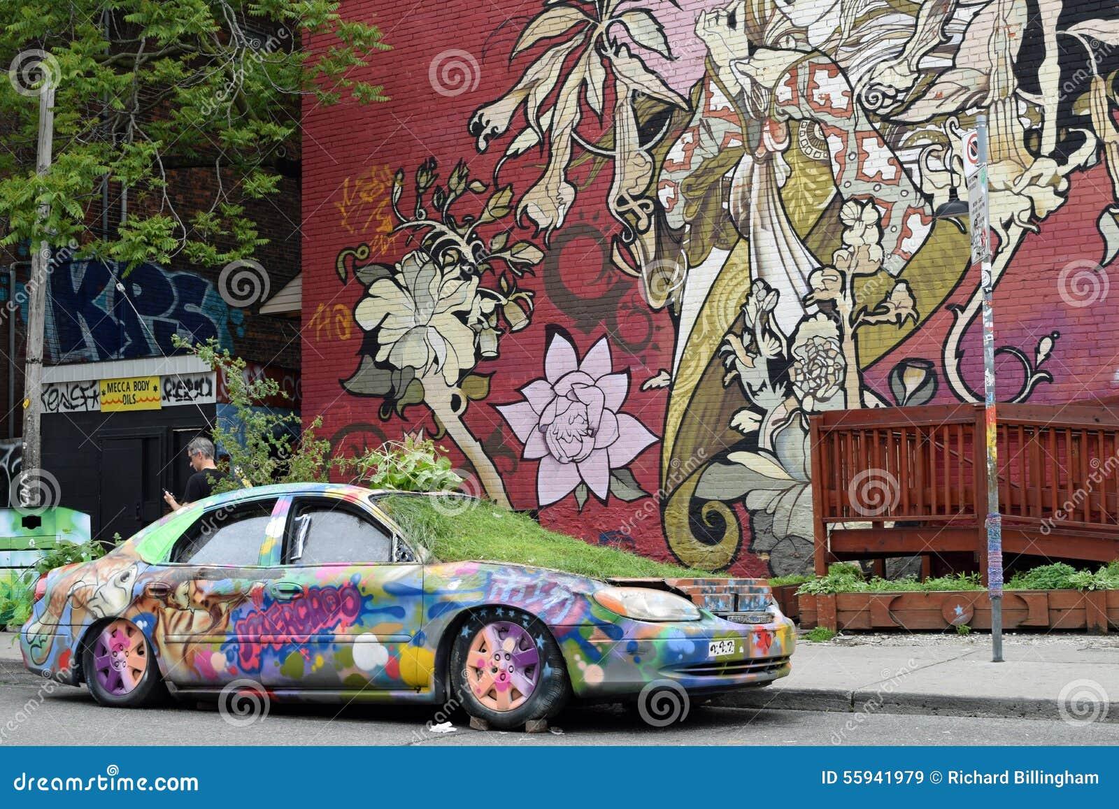 artistic car mural kensington market toronto canada editorial artistic canada car kensington market mural painted toronto wall