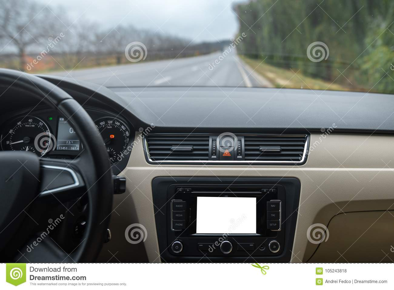 car navigation system in modern car interior with mock up display of multimedia stock photo. Black Bedroom Furniture Sets. Home Design Ideas