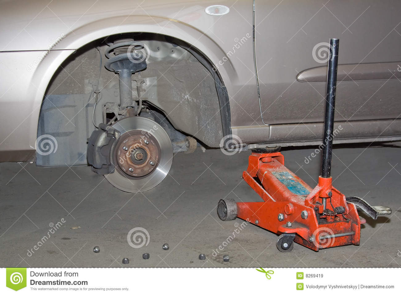 Car no front wheel stock image. Image of hand, unmount - 8269419
