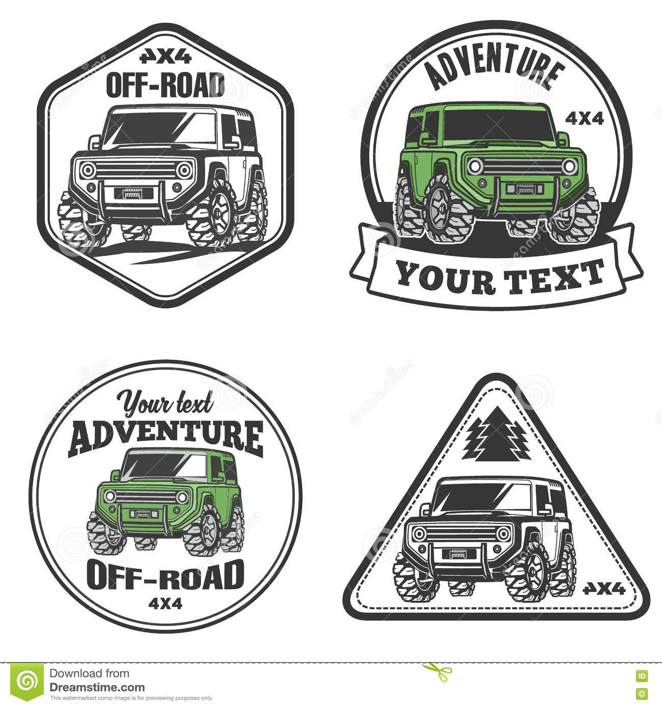 Car Off Road Suv Trophy Truck Logo Template Set Stock Vector