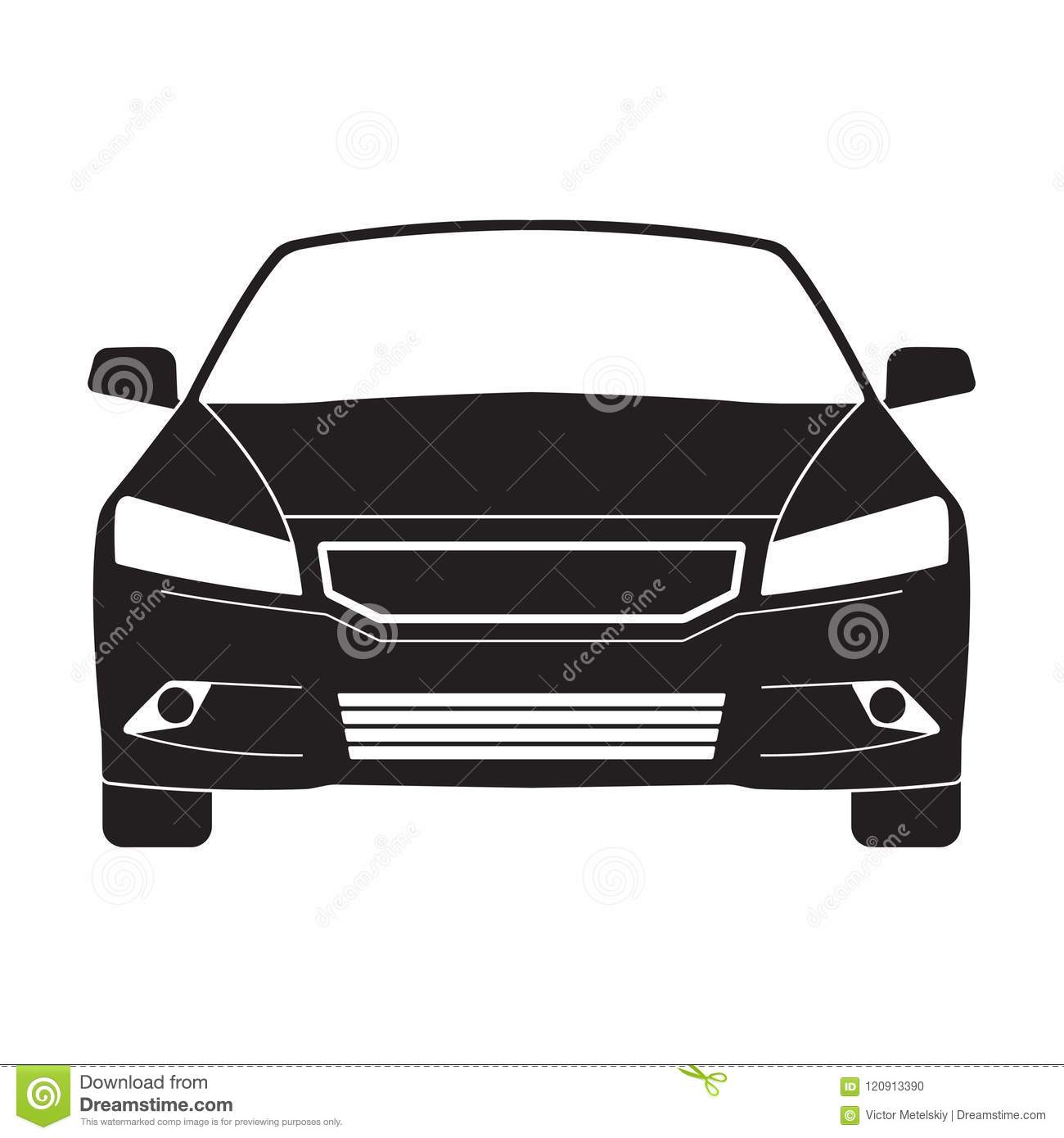 Car Outline Icon Or Sign Vector Black Vehicle Silhouette Isolated