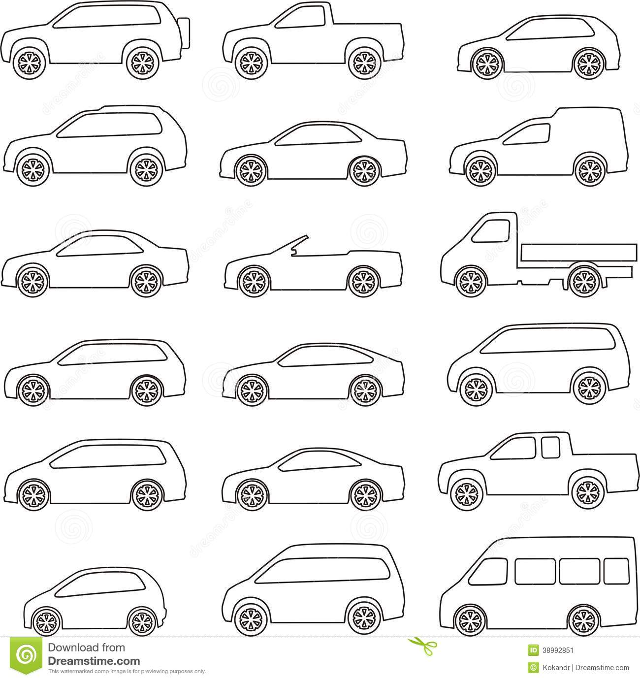 Car Outline Set Stock Vector Image 38992851