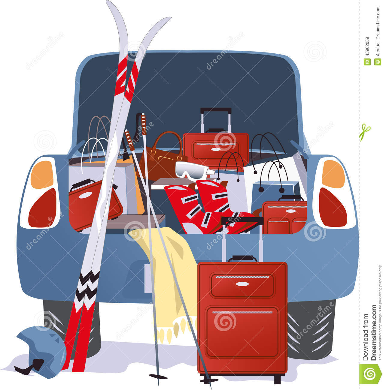 Car packed for a ski trip