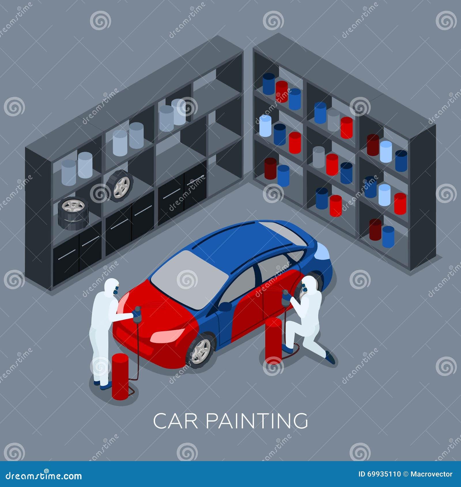 Car painting service cartoon vector for Car paint company