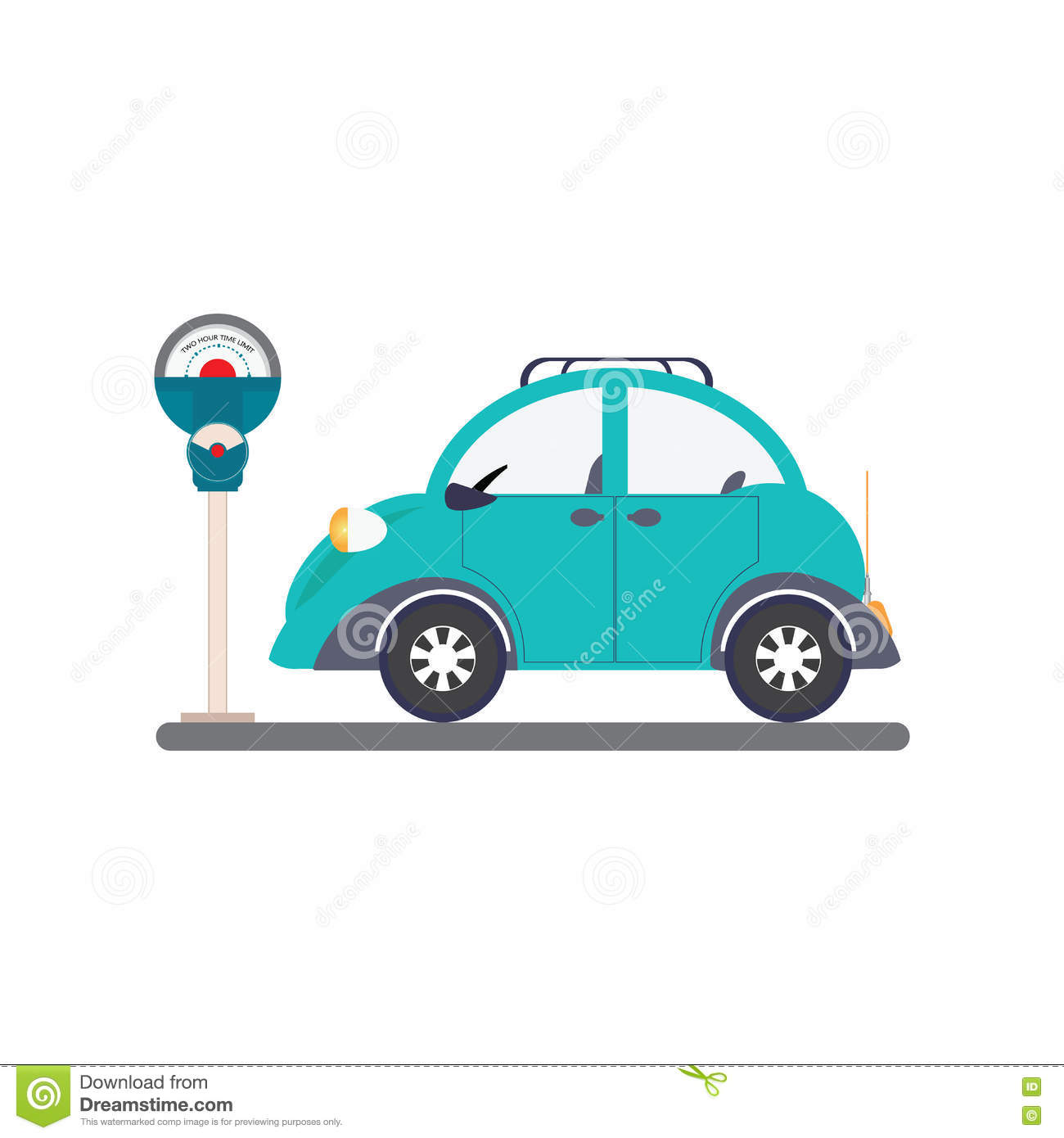 Car Sitting In Parking Lot Clipart