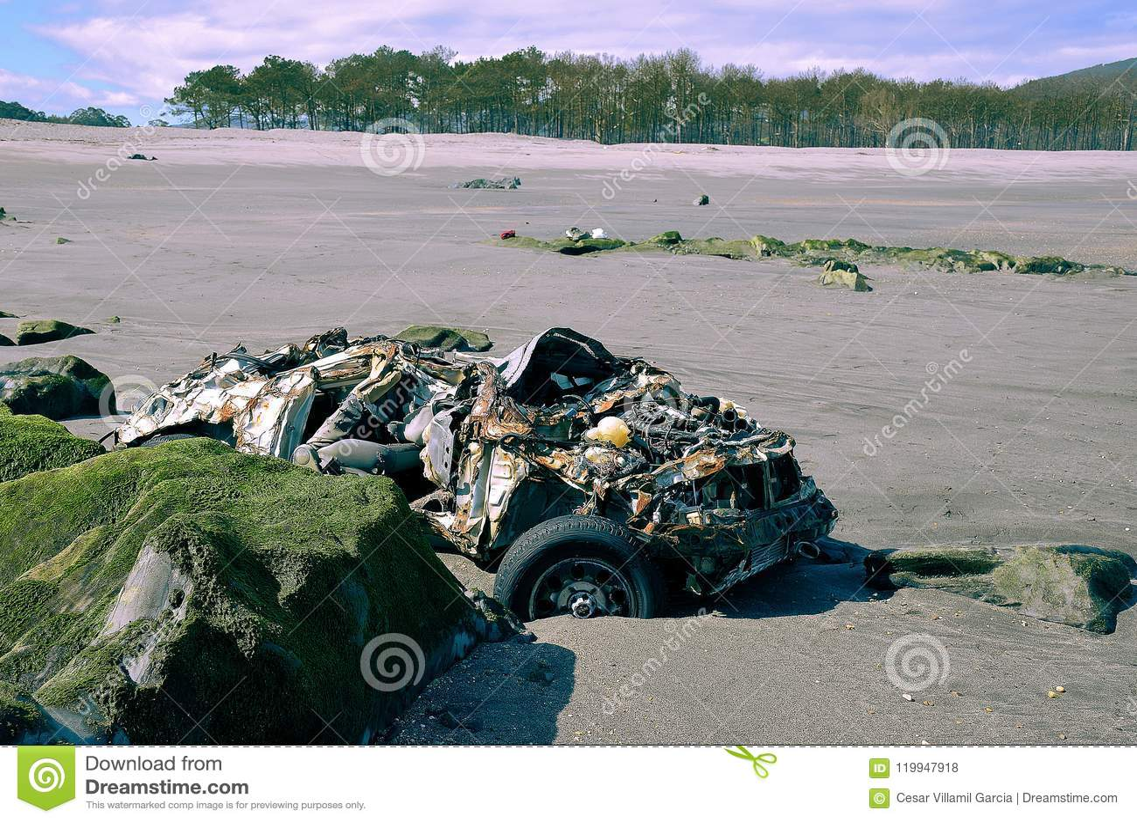 Car parked on the beach