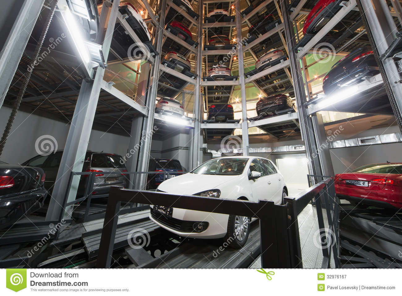 The Car On Parking Lot With Automated Car Parking System