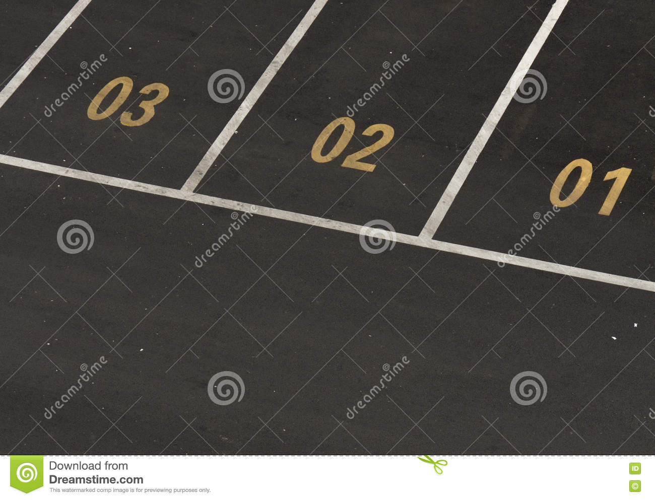 Car parking lot with numbers