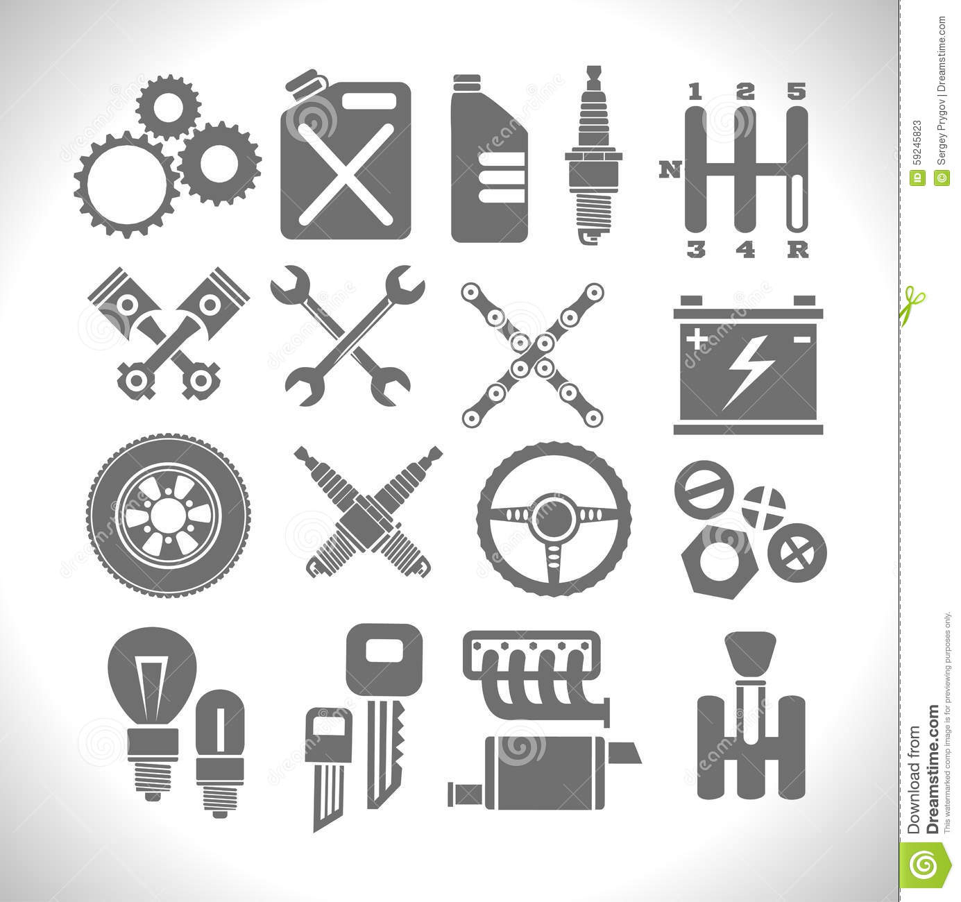 Car Part And Service Icons Set 3 Vector Illustration